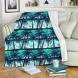 chaqlin Manta para niños con palmera hawaiana, súper suave, para oficina, sofá, silla, cama, cama, sofá, viajes, camping, mantas de 130 x 150 cm