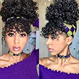 AISI QUEENS Afro Puff Drawstring Ponytail with Bangs Natural Synthetic Curly Hair Bun for Women Afro Updo Hair Extensions with Clips(Black,1B#)