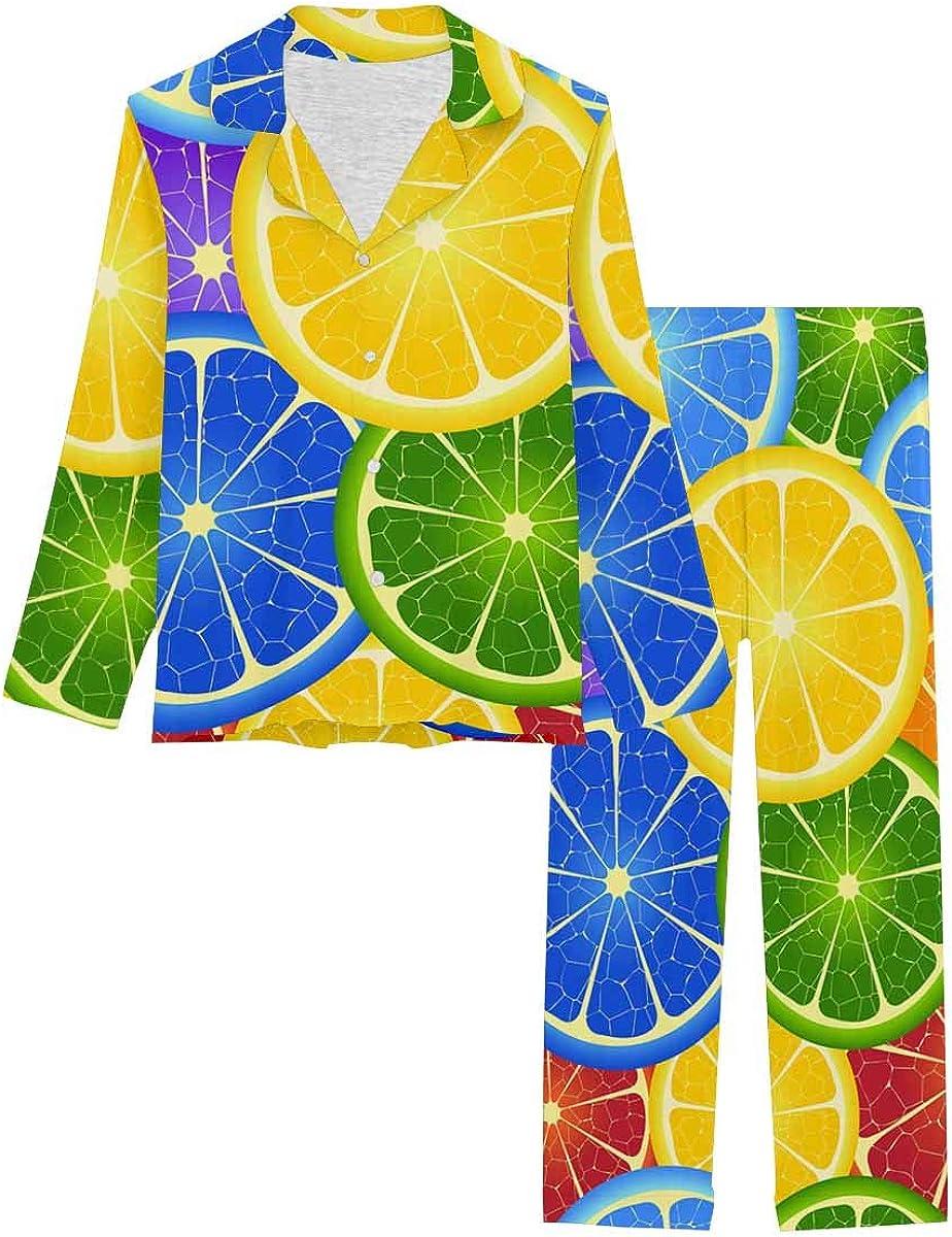 InterestPrint Soft Nightwear Loungewear with Long Pants Pajamas Set Rainbow Orange Background
