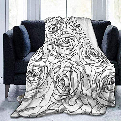 Throw Blanket,Black White Rose,Warm Ultra Soft Flannel Fleece Light Weight for Couch Bed Sofa Travelling Camping for Kids Adults