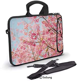 13 inch Laptop Sleeve Case,Japanese Sakura Cherry Blossom Branches Full of Spring Beauty Picture