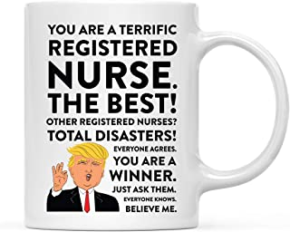 Andaz Press 11oz. Funny President Trump Coffee Mug Gag Gift, Registered Nurse, 1-Pack, Includes Gift Box, Christmas Birthday Graduation Novelty Drinking Cup Gift Ideas