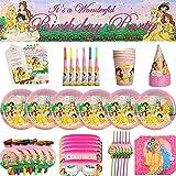 CYSJ Princess Cumpleaños Vajilla Decoraciones, 69 Piezas Party Suministros,para Fiestas Princesa Desechable, Vajilla de Cumpleaños,Vajilla de Fiesta TemÁTica de Disney