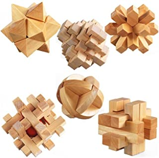 StillCool 3D Jigsaw Puzzles Wooden Classic Cube Genius Puzzle and Brain Teasers, Set of 6 Old China Kongming Luban Jigsaw Lock Educational Toy Gift for Kids and Adults