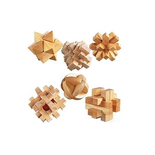 StillCool 3D Puzzle en Bois Casse-tête Jigsaw Lock Jouet éducatif Cadeau pour Enfants et Adultes (6pcs Puzzles en Bois)