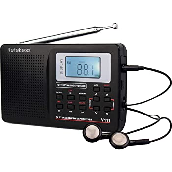 Retekess V111 Portable AM FM Shortwave Radio Alarm Clock Battery Operated AA Battery with Earphones Jack Sleep Timer for Travel(Black)