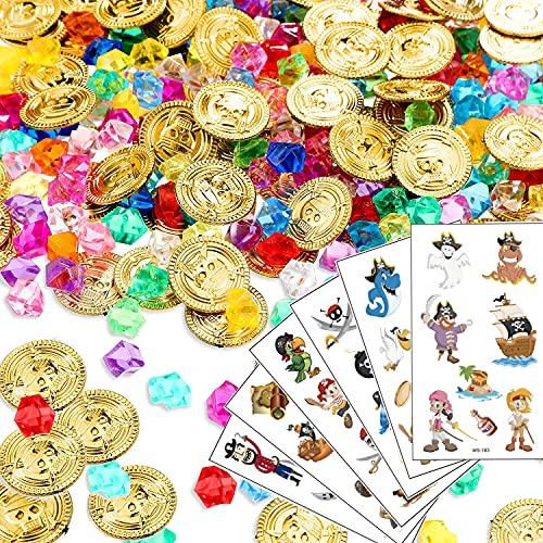 Sunshine smile 156PCS Gold münzen, Piraten Goldmünzen für Kinder, Kinder Piraten Edelsteine, Piratenschatz, Stücke Piraten Schatztruhe Boxen, Piratenparty Mitgebsel, Schatzsuche für Kinder