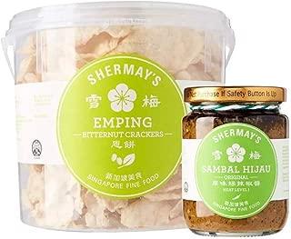 Shermay's Singapore Fine Food Bundle: Bitternut Cracker Emping Bucket, 200g with Sambal Hijau, 240ml