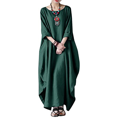 4e766094 VONDA Women's Boat Neck Batwing Solid Cotton Gown Kaftan Loose Casual Maxi  Dress