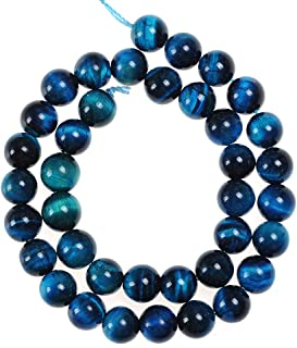 Natural Stone Beads 8mm Sky Blue Tiger Eye Gemstone Round Loose Beads Crystal Energy Stone Healing Power for Jewelry Making DIY,1 Strand 15