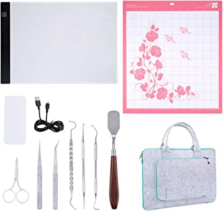 Caydo 12 Pieces Vinyl Weeding Tools with A4 Adjustable LED Light Box See The Cut Lines Better, and Adhesive Cutting Mat