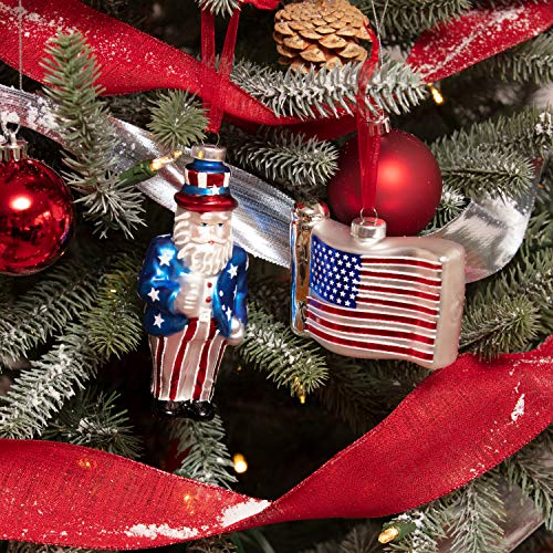 Every Day is Christmas Glass Ornament Set of 2 pcs Uncle Sam Santa and American Flag