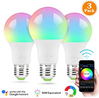 LED Smart Bulb, 3 Pack Nexlux Sunrise Wake-Up WiFi Lights,Cellphone Control Color Tunable Soft,Cool White,RGB Led Light Bulb 4.5W(40W Equivalent), Compatible with Alexa and Google Assistant