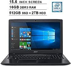 2019 Acer Aspire E5 15.6 Inch FHD Laptop (8th Gen Intel Core i3-8130U up to 3.4 GHz, 16GB RAM, 512GB SSD (Boot) + 2TB HDD, Intel HD Graphics 620, DVD, WiFi, Bluetooth, HDMI, Windows 10 Home)