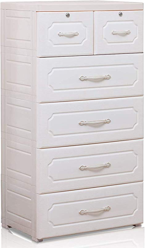 Nafenai 5 Drawer Chest Plastic Large Bedroom Dresser Tall Dresser Chest On Wheels 23 62 L X 15 75 W X 44 49 H Creamy White