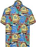 LA LEELA Casual Hawaiana Camisa para Hombre Señore Manga Corta Bolsillo Delantero Surf Palmera Caballero Playa Aloha 7XL-(in cms): 178-183 Verde_W274