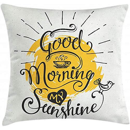 SSHELEY spreekwoord kussensloop, Guten Morgen Mijn zonschijn opschrift met een vogel op zonnig kussensloop, mosterd kokosnoot zwart