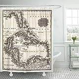 Babydo Badezimmer Vorhang Alte 1799 Antike Karte Von Westindien Und Karibik Vintage Florida Hotels Nach Hause Standard 183X183Cm Duschvorhang Drucken Wasserdichten Modischen