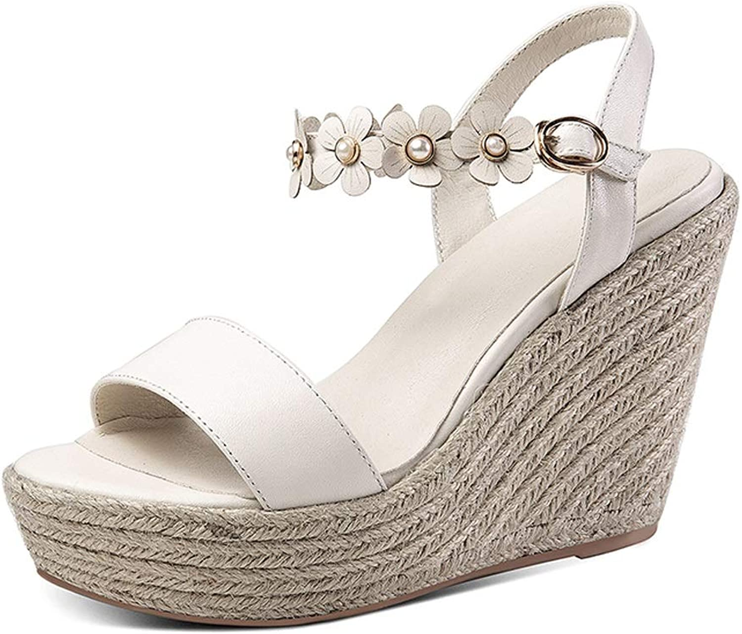 Wedge Sandals Summer Leather High Heels Comfortable Platform Sandals Fashion Women's shoes Open Toe High Heels High 11cm (color   White, Size   39 US7.5)
