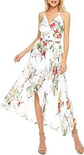 V Neck Adjustable Spaghetti Strap Maxi Dress with Pocket,...