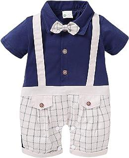 DaMohony Baby Jungen Gentleman Strampler Neugeborene Säugling Jungen Kurzarm Plaid Jumpsuit für 0-18 Monate