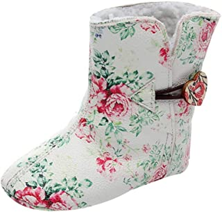 OCEAN-STORE Newborn Toddler Baby Girls 0 Months-3 Years Floral Print Winter Warm Boots First Walkers Shoes