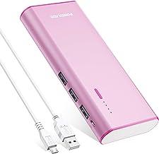 POWERADD Batería Externa Power Bank 10000mAh (3 USB,5V 2A, Más 2.5A, con la Linterna) Carga rápida para iPhone, iPad, Samsung, Xiaomi Móviles Inteligentes y Tabletas-Rojo