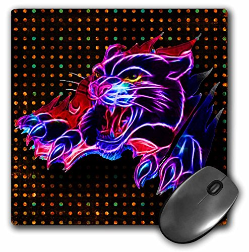 3drose Neon Black Panther and Neon Background - Mouse Pad