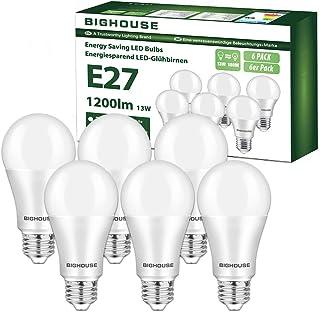 E27 LED Lampe, 13W 1200 Lumen LED Lampe Ersatz für 100W Halogen, 3000K Warmweiß, A60 Leuchtmittel, 220-240V AC, 6 Stück