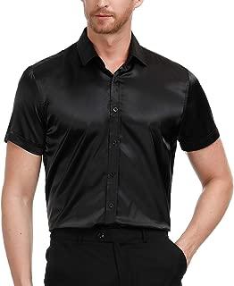 Men's Slim Fit Silk Like Satin Luxury Dress Shirt