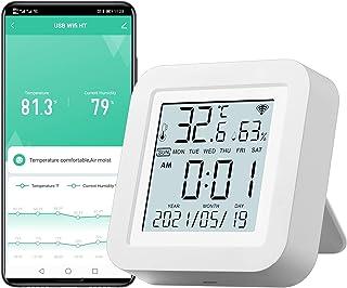 دماسنج رطوبت سنج داخلی دما و رطوبت WiFi با مانیتور صفحه نمایش LCD برای گلخانه خانه سازگار با دستیار Google Alexa