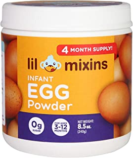 Lil Mixins Early Introduction Egg Powder. Lower Your Child's Chances of Egg Allergies. 240g. Easily Stir into Baby Food. 0g of Sugar. 4-Month Supply.