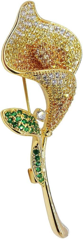 Brooch Pin Flower Tulip Crystal Zircon Jewelry Gifts Men WomenTeen Girls Classic Suit Wedding Accessories Gold