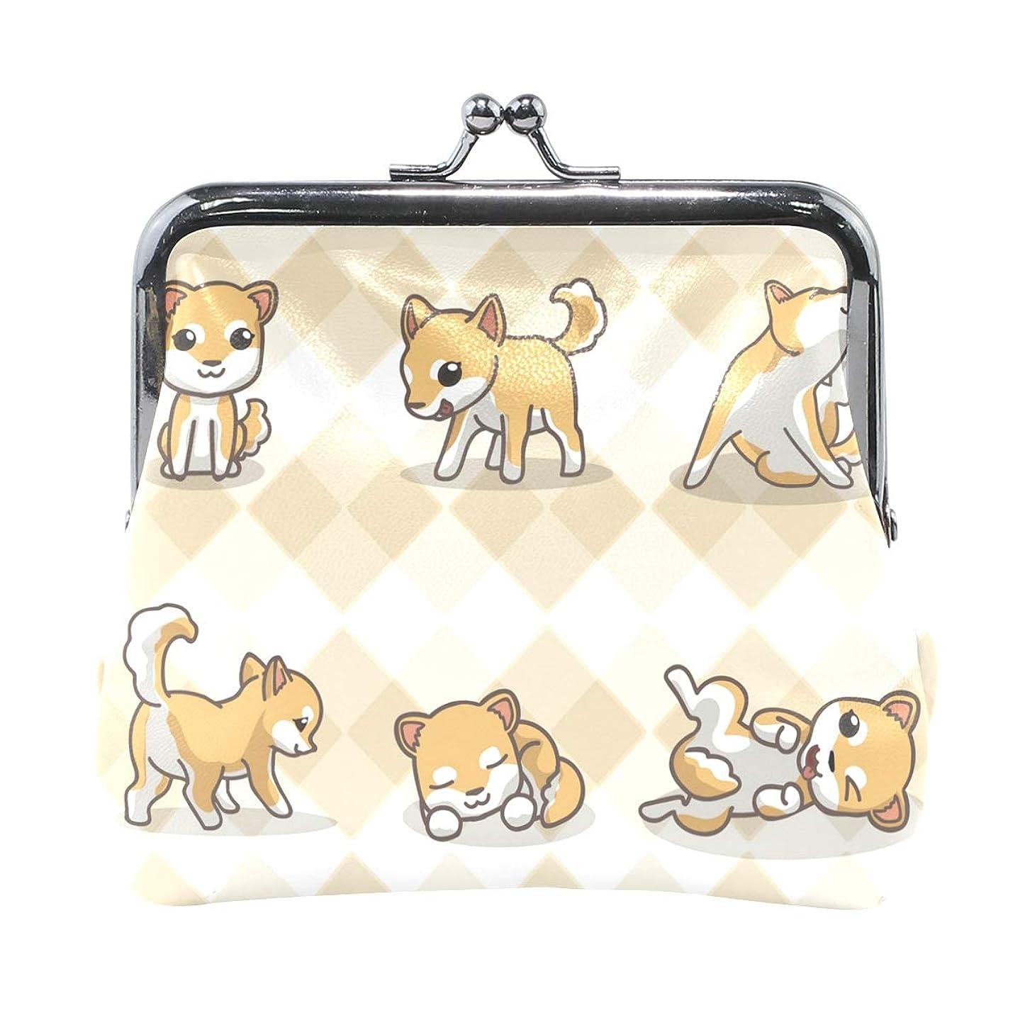 アンドリューハリディ歌手スティックがま口 財布 口金 小銭入れ ポーチ 柴犬 かわいい ANNSIN バッグ かわいい 高級レザー レディース プレゼント ほど良いサイズ