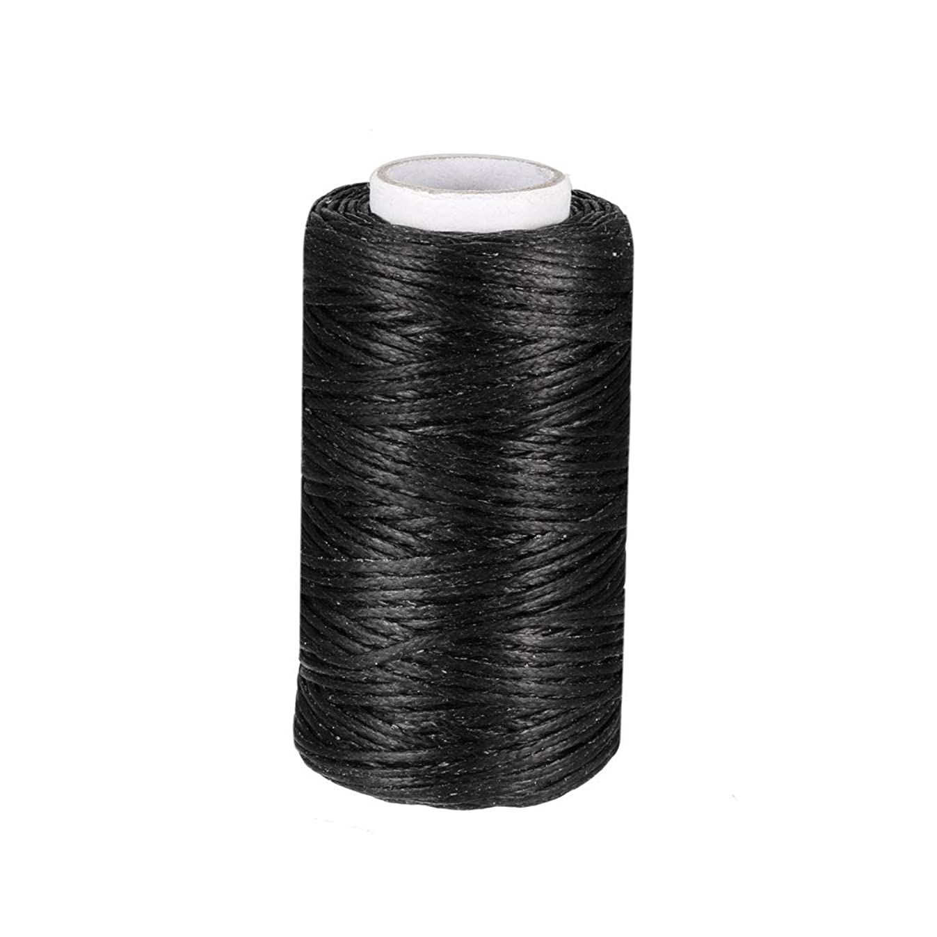 uxcell Crafts 150D 1mm Leather Sewing Stitching Flat Waxed Thread String Cord (150D 1mm 50M, Black)
