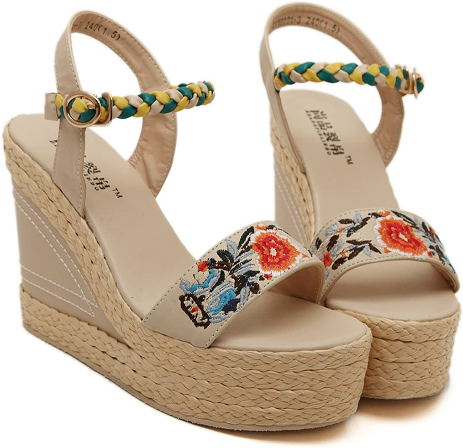 YUhe2018Cw Yu He Fashion Summer Slope Sandals Loafers shoes High Platform Summer Wedge Sandal Women Apricot 40