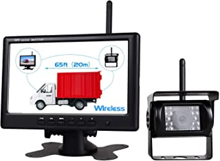 "$69 » WHOLEV Wireless Backup Camera Kit, 7"" Monitor with 18 Bright LEDs 120° Viewing Angle Night Vision for Truck RV Bus Van, IP..."
