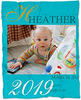 NICTIMEID Personalized Blanket with Baby's Photo and Name, Super Soft Fleece, 30