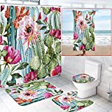 5 Pcs Tropical Cactus Shower Curtain Sets with Non-Slip Rugs, Towels, Toilet Lid Cover and Bath Mat, Flowers Curtain with 12 Hooks, Waterproof Bathroom Shower Curtain Sets