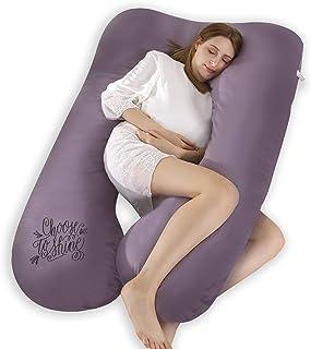 SALAD HOUSE - Cojín de Lactancia en Forma de U para Dormir de Lado, con cojín extraíble y Lavable, 100% algodón 320TC, diseño Bordado