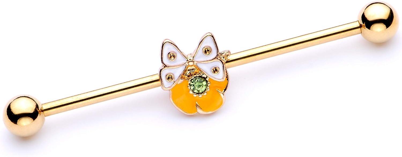 Body Candy Womens 14G PVD Steel Helix Cartilage Earring Orange Flower Butterfly Industrial Barbell 1 1/2
