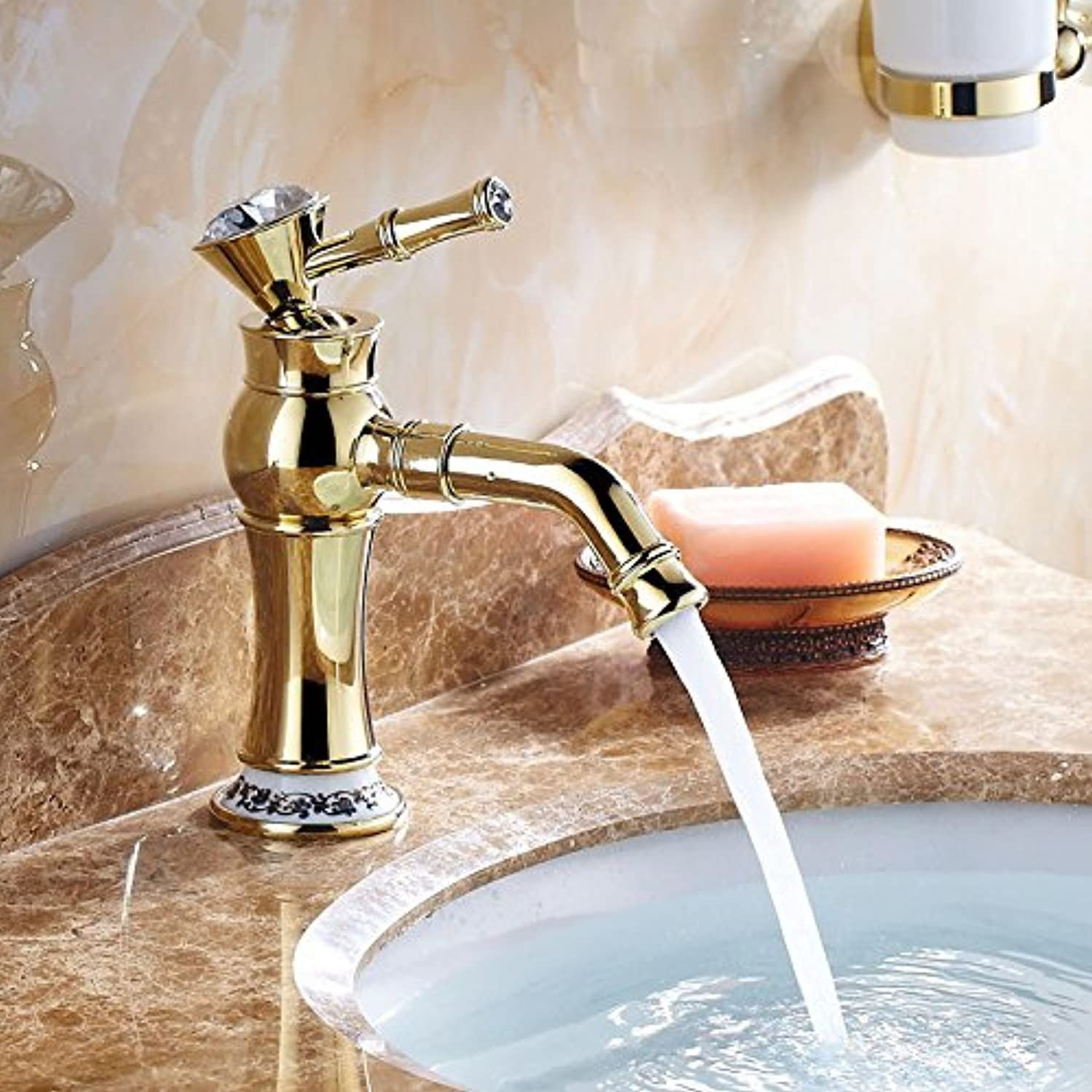 LHS OU Dian gold bluee and white porcelain basin faucet hot and cold faucet