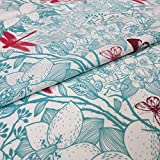 Hans-Textil-Shop Stoff Meterware Pflanzen Schmetterlinge