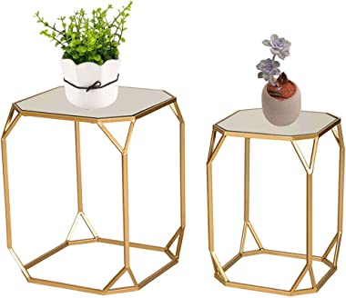 Glitzhome Set of 2 Nesting Coffee Tables Decorative Accent Side End Tables Plant Stand Chair for Bedroom, Living Room, Home O