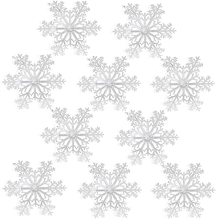BANBERRY DESIGNS Large Snowflakes - Set of 10 Clear Acrylic Large Snowflakes with Frosted Tips - Approximately 12