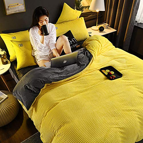 N / A Crystal velvet four-piece thick double-sided velvet AB quilt cover bed cover suitable for single double king-yellow_gray_Quilt_cover:_200cm×230cm(4pcs)