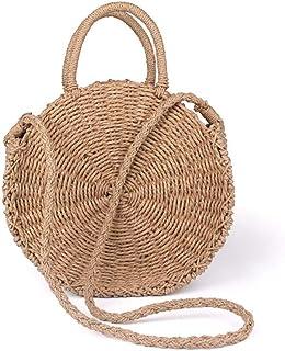GSERA Handgemachte Rattan Gewebte Runde Handtasche Vintage Strohseil Gestrickte Umhängetasche Lady Fresh Paper Bag Strandt...