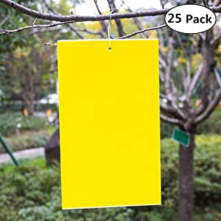 Wemaker Outdoor Waterproof Traps, 25-Pack Dual-Sided Yellow Sticky Sheets - 6x8 Inches, Twist Ties Included