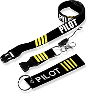 MELIFE Pilot Lanyard 4 Stripes for Keys with Detachable Safety Buckle Traveler Pilot Keychain Baggage Tag Set