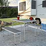 CoscoProducts COSCO 37333AGG1E Outdoor Furniture Table and Bench Set, Gray